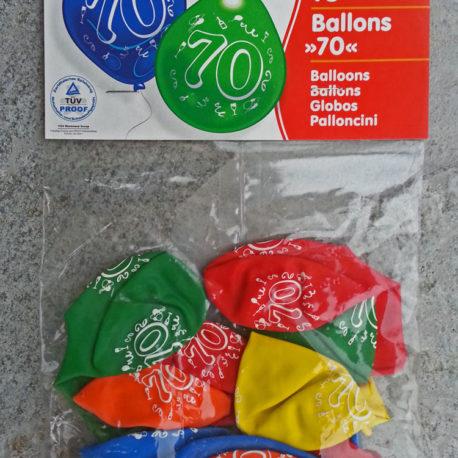 Zahlenluftballon mit Aufdruck 70