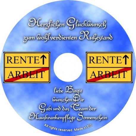Persönliche Glückwunsch-CD-Ruhestand-Rente