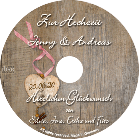 persönliche bayerische Hochzeits-CD - personalisierte Geschenke zur Hochzeit